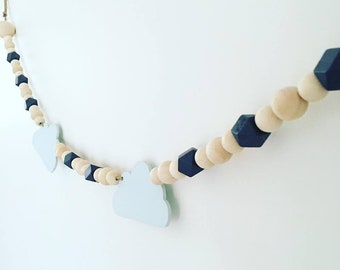 nursery decor, boys bedroom, monochrome decor, wooden garland, bead garland, boho décor, tassel mobile, tassel garland, teepee, baby gift