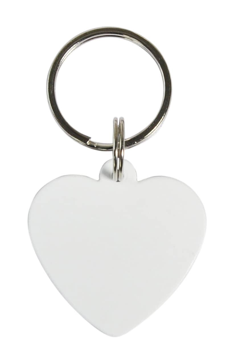 10 Pcs White Blank POLYMER Round Dog Keychain Sublimation DYE Heat Transfer