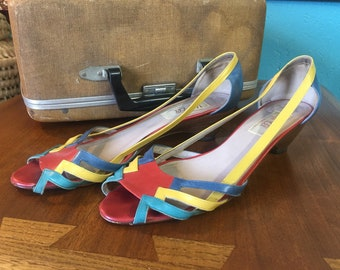 80's Van Eli made in Italy Peep Toe Multi-Color Wedges