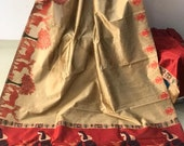 FREE SHIPPING_Ethnic Beige Banglori Raw Silk Saree With Kalamkari Wooven Pallu With Plain Contrast Blouse Wedding Wear Indian Women Sari