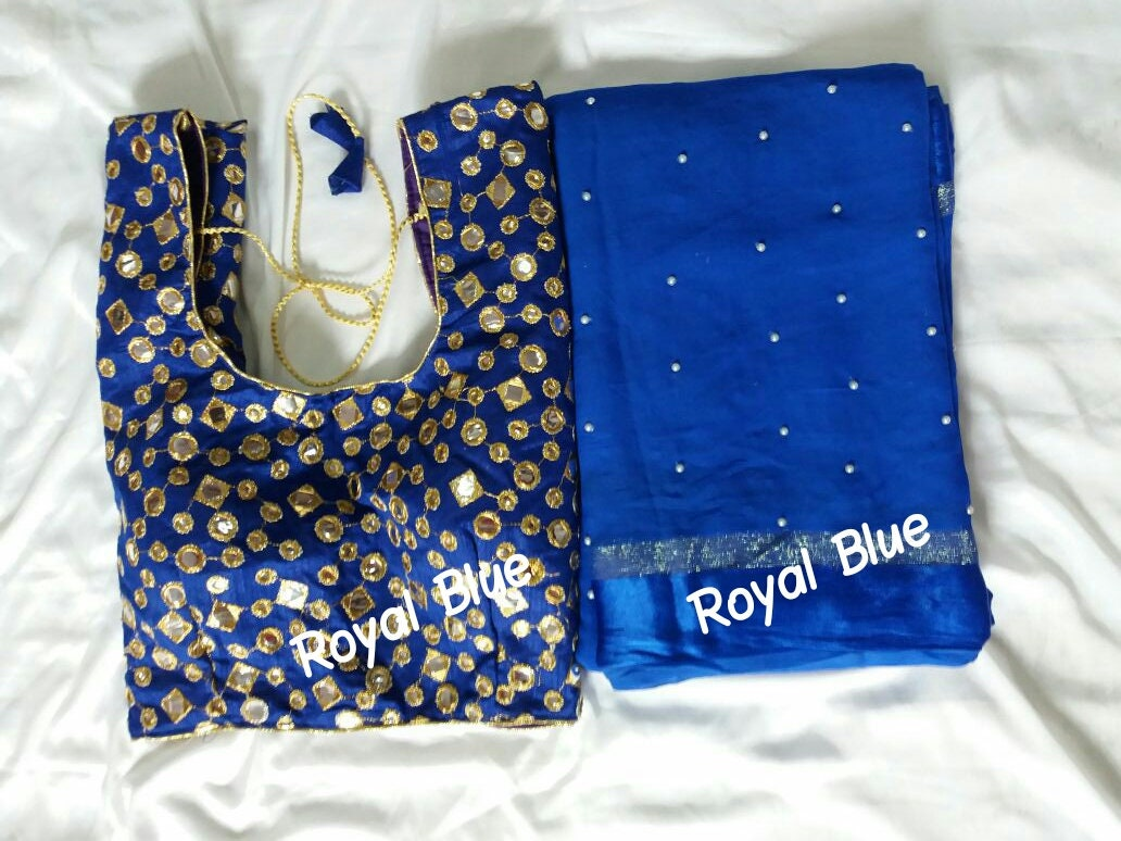 Saree bleu Georgette SHIPPING_Ethnic gratuit avec chemisier chemisier chemisier Readymade mariage traditionnel usure femmes indiennes 4b674c