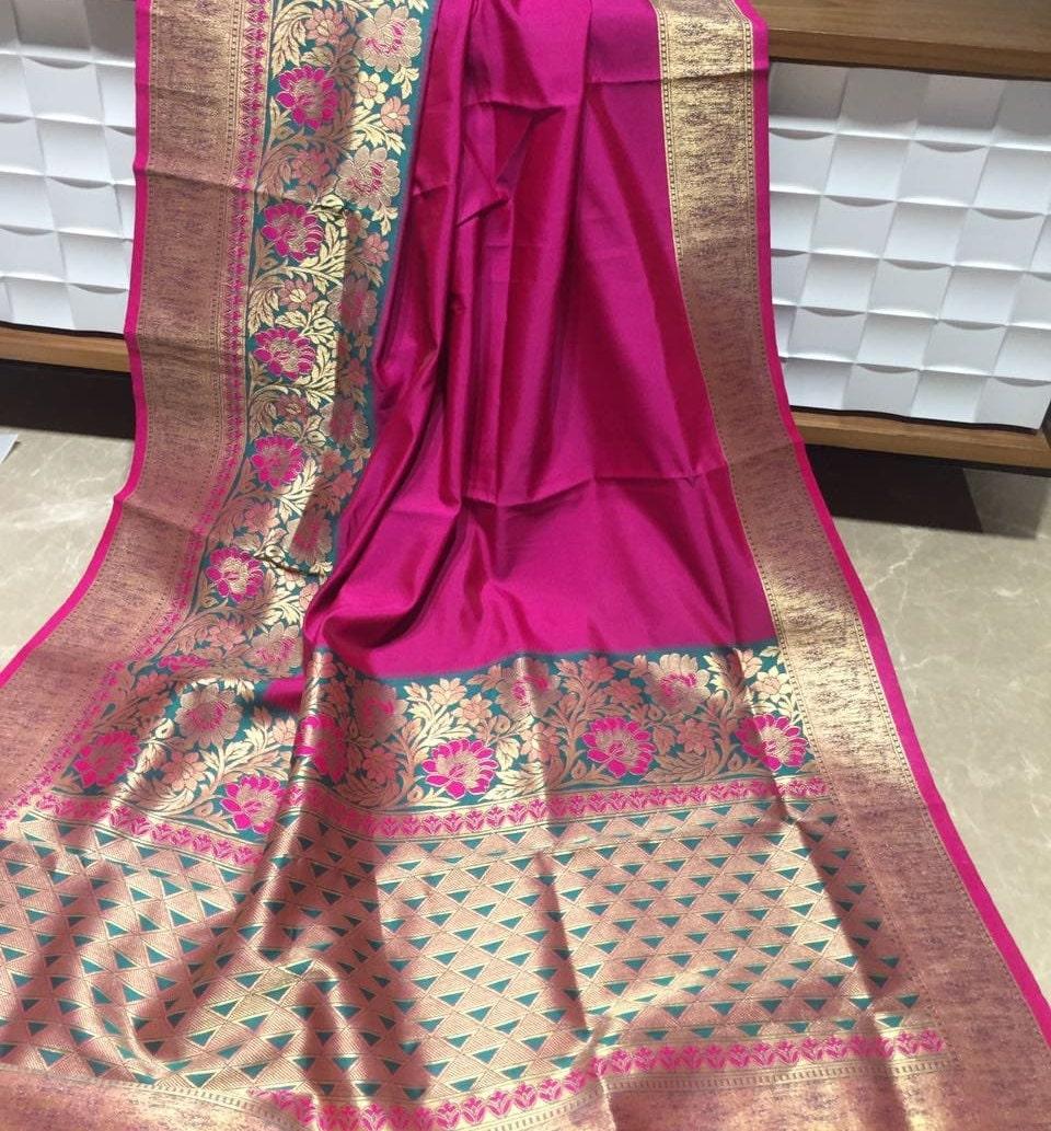 SHIPPING Ethnic libre Banarasi rose en soie Saree avec traditionnel Zari  frontière mariage traditionnel avec usure femmes 9bfc8c86cda