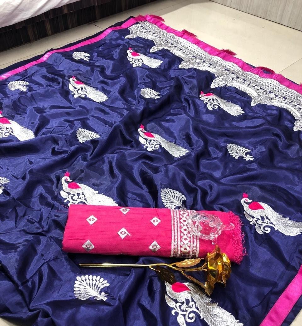 Patron gratuit de SHIPPING_Ethnic soie papier soie SHIPPING_Ethnic Saree avec décousu Blouse paon bleu traditionnel Sari femmes mariage indien à porter f5abbc