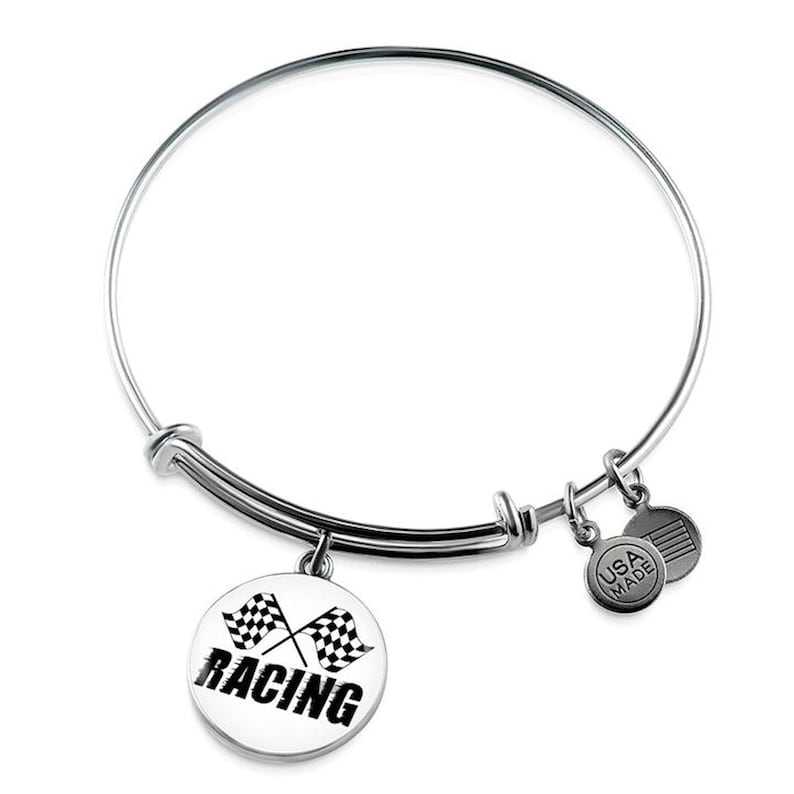 Checkered Flag Racing Bangle Bracelet T For Car Racing
