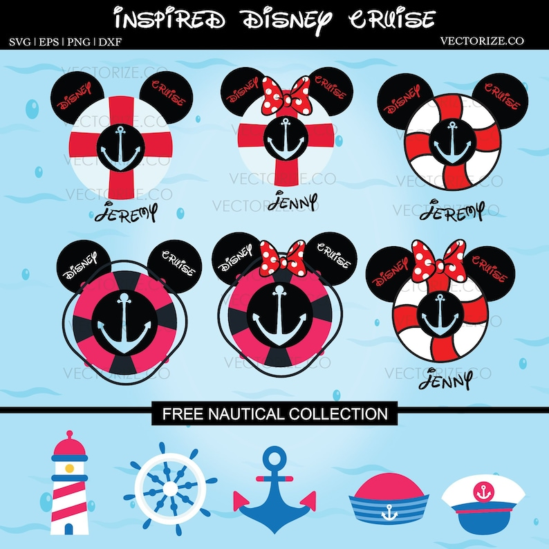 Disney Cruise Mickey Mouse Family Instant Download Stencil Etsy