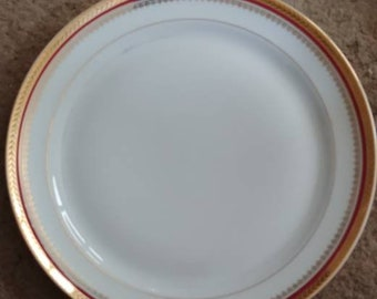 Antique set of 8 gold encrusted plates with burgundy stripe from B&C Limoges France