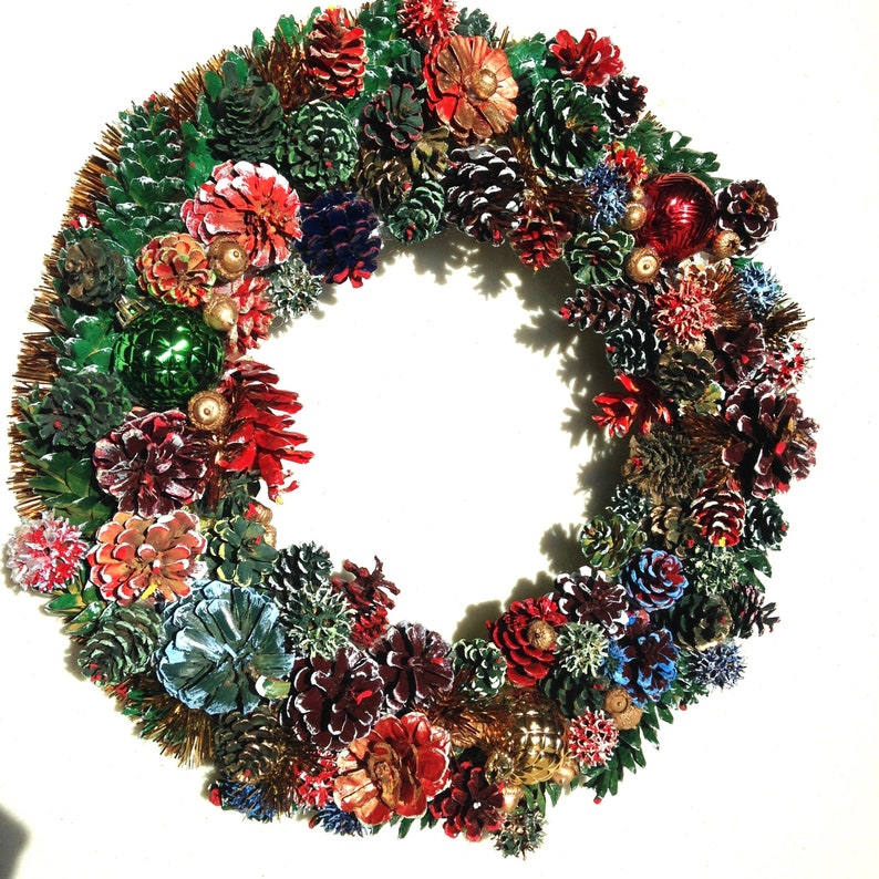 18 Multi Colored Hand Painted Pine Cone Wreath with 3 image 0
