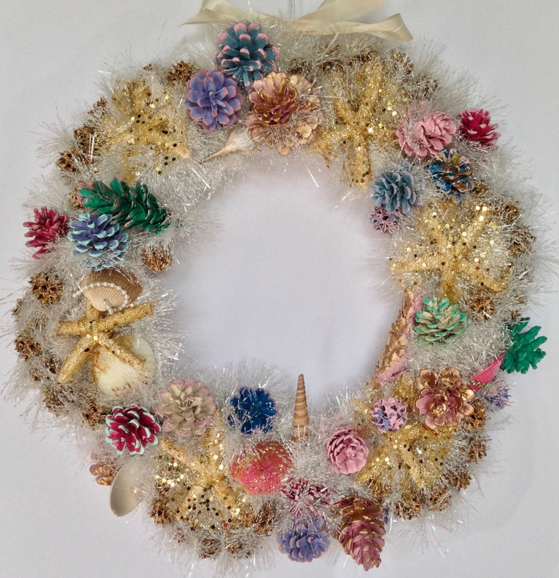 18 Sparkly Starfish Seashell Pine Cone Wreath Shore image 0