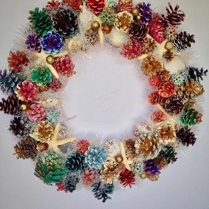 18 Starfish Seashell Pine Cone Wreath Multi Color Fall image 0