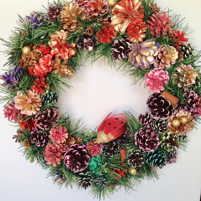 18 Red Lady Bug Pine Cone Wreath Floral Multi Color image 0