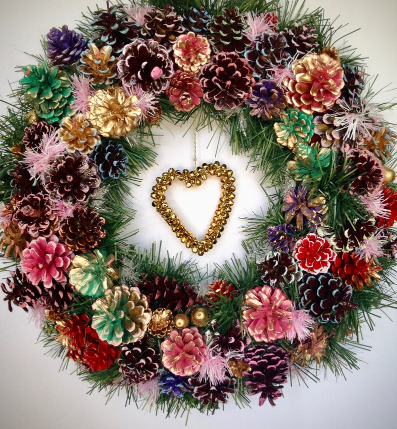 18 Gold Heart Pinecone  Wreath Floral Wreath All image 0