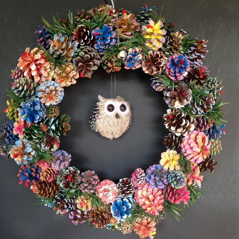 18 Round Owl Pine Cone Wreath Fall Wreath Nature image 0