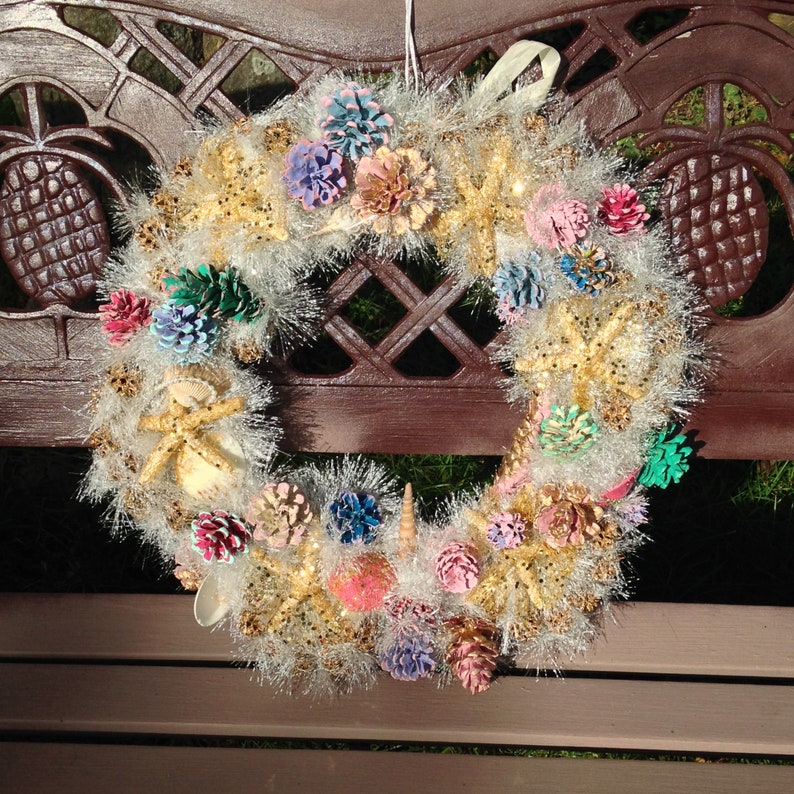 Home Decor Gift 18 Sparkly Starfish Enchanted Point All Occasion Wreath Shore Wreath Seashell Pine Cone Wreath