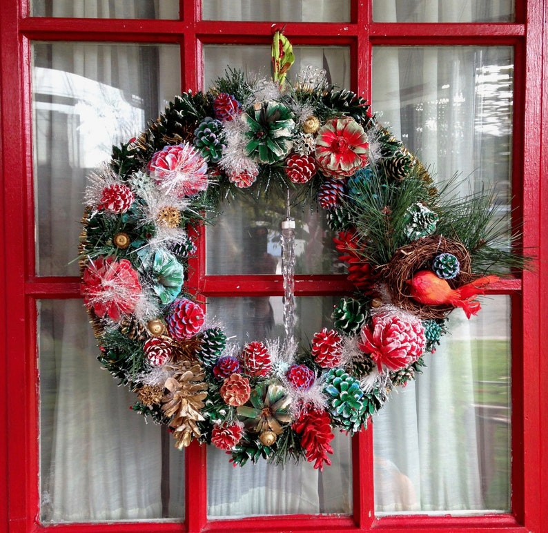 18 Cardinal Bird Nest Christmas Pinecone Wreath with image 0
