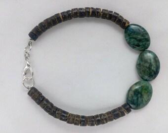 Natural Gemstone Beaded Chrysocolla and Nutshell Bracelet