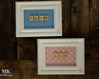 Personalized Scrabble Name Frame, New Baby Gift, Baby Shower Gift Up to 8 letters