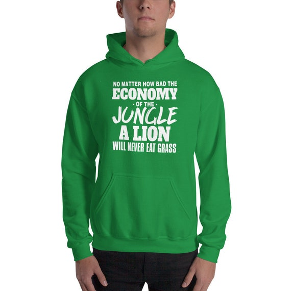 N'importe quel point l'économie de la jungle jamais un Lion mangera jamais jungle herbe Sweat à capuche 1a173a