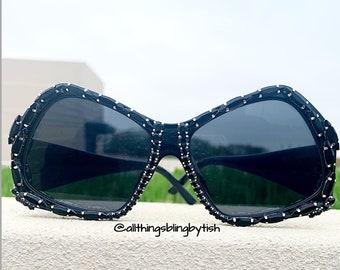 64b57109dca Retro Vintage Square Bling Sunglasses