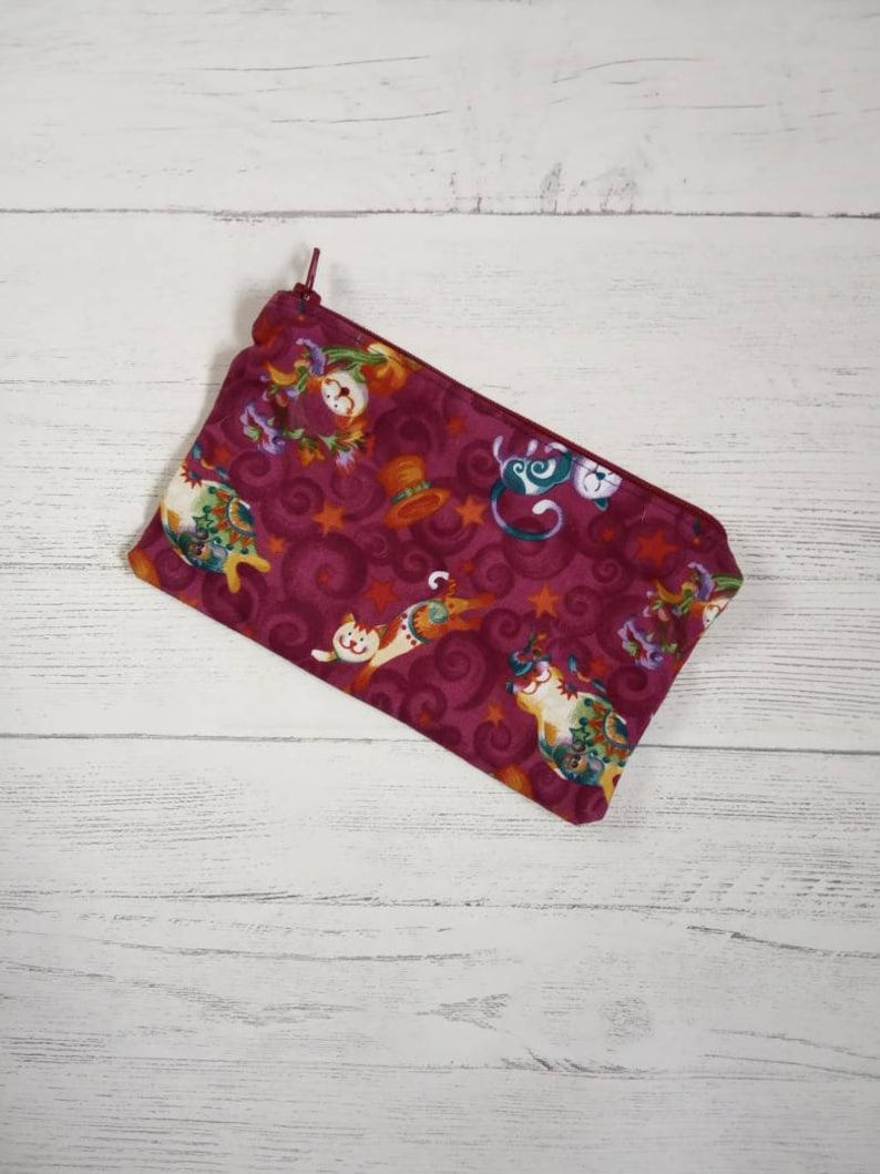lined with zip approx 7x5 inches Handmade notions pouch