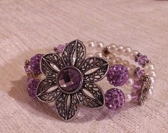Flowered Purple stretch bracelet with Swarovski Crystals
