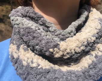 Grey and cream neck warmer, Mother's Day, light weight, cozy