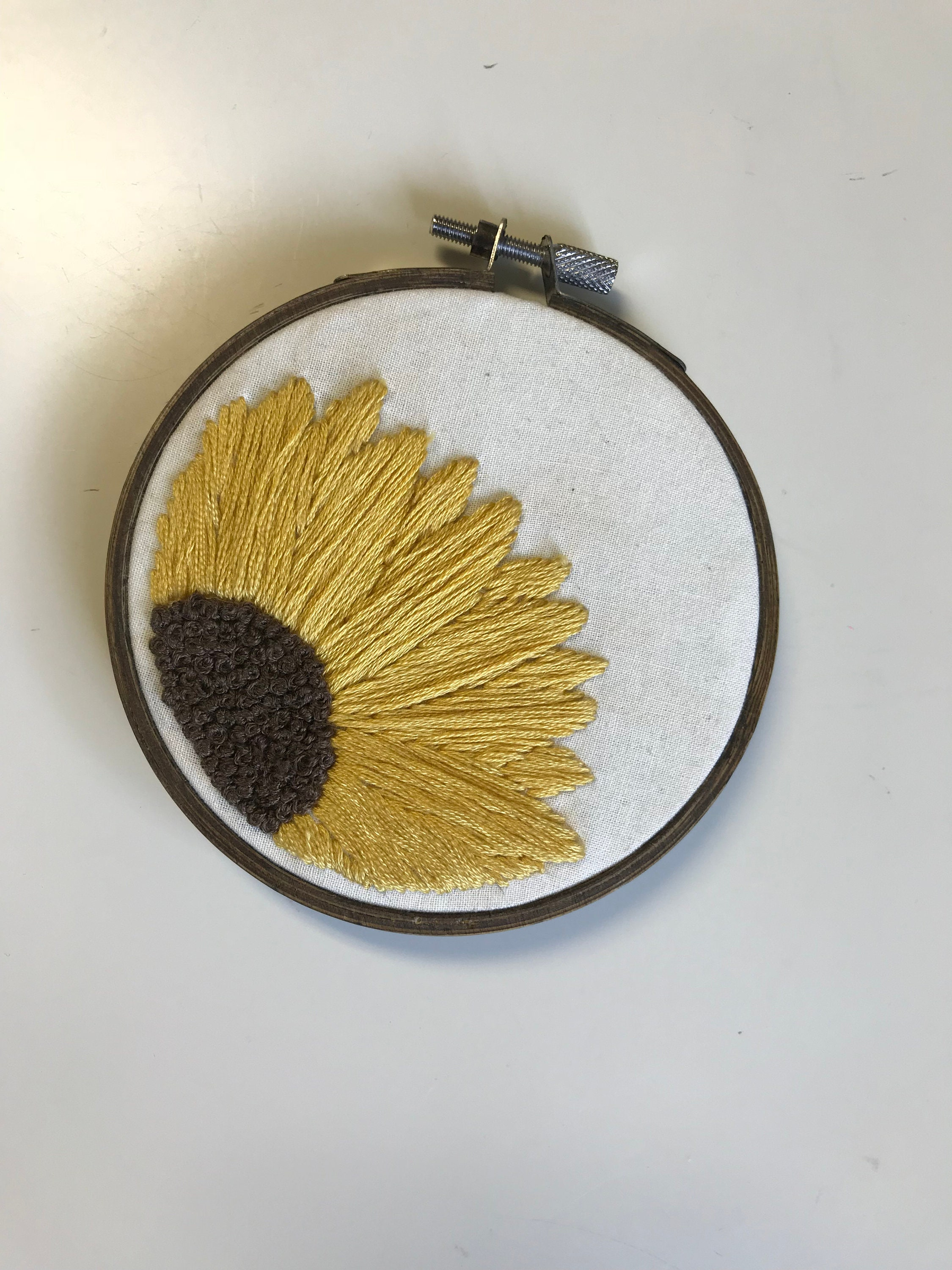 Sunflower Embroidered Hoop// Flower embroidery / wall decor /