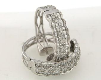 Pair 18K White Gold 2.5CT Diamond Hoop Earings