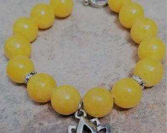 Yellow Candy Jade & Lotus Charm