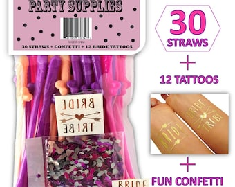 Penis - Dick Straws | Bachelorette Party Decorations | 30 Straws + Confetti Pack & 12 Bride Tattoo Pack - Perfect for Fun Bridal Party Favor