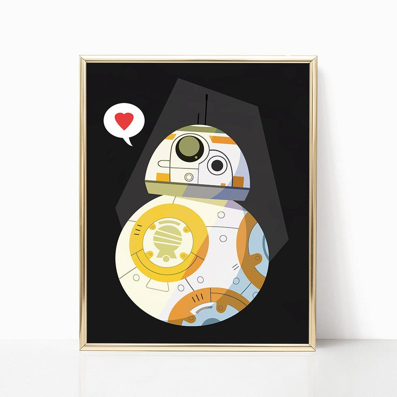 graphic relating to Bb 8 Printable named Star Wars BB-8 Print - Star Wars Art - BB8 - Printable Present