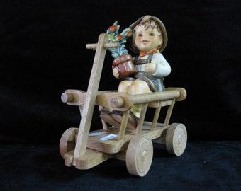 Vintage Goebel Hummel - Love in Bloom Figurine w/ Wooden Cart #1185/#699