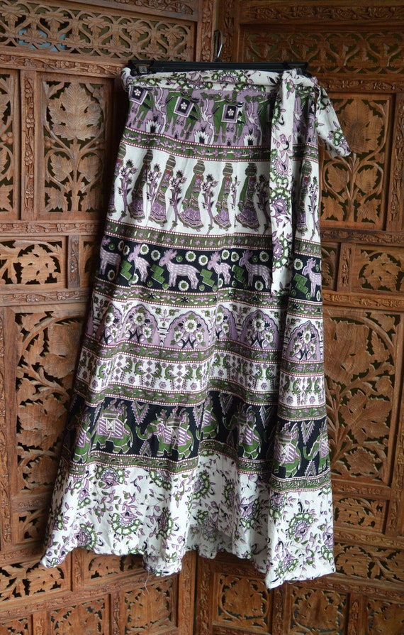 Block Print Wrap Skirt - Vintage Indian Skirt - Co