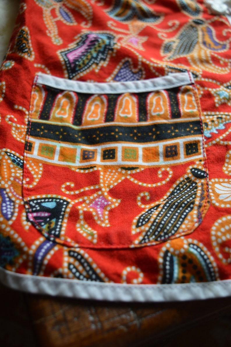 Red Batik Children/'s Shirt Vintage Unisex Kids Clothes Boho Kids Clothes