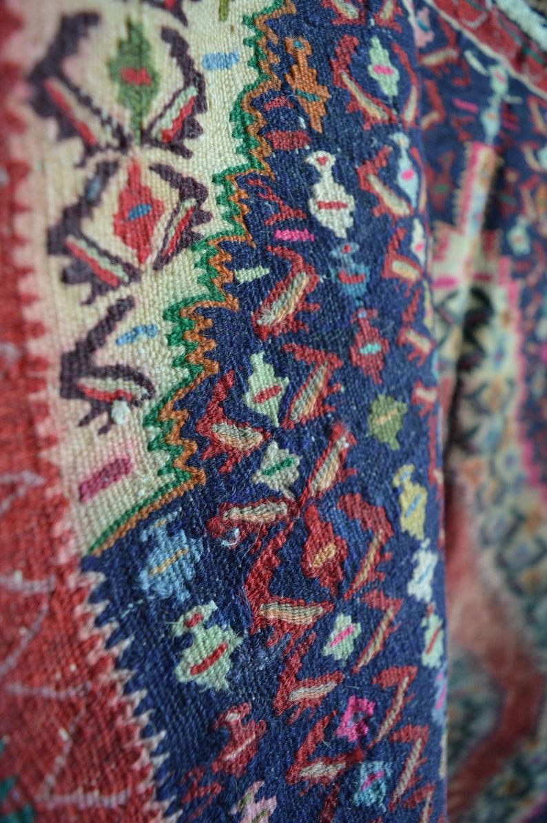Colorful Vintage Rug Vintage Woven Rug Flat Weave Kilim Rug Fringed Rug Flat Weave Vintage Rug Distressed Rug Blue Vintage Rug