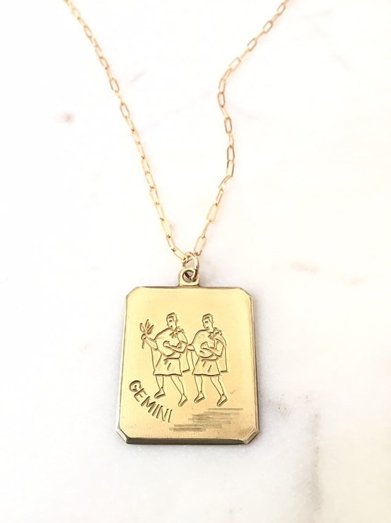 gemini necklace  boho gemini necklace   vintage zodiac gemini necklace  astrological jewelry  cool gemini necklace  vintage gemini