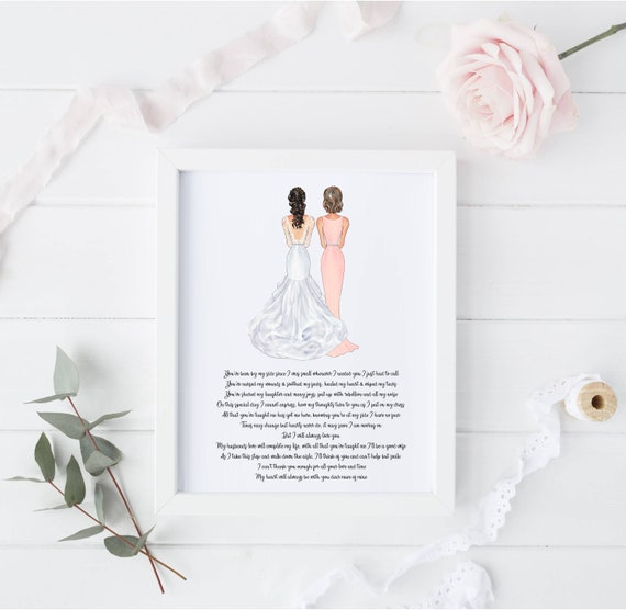 Custom Foil Picture Special mother of the bride poem Gifts Gift For Wedding