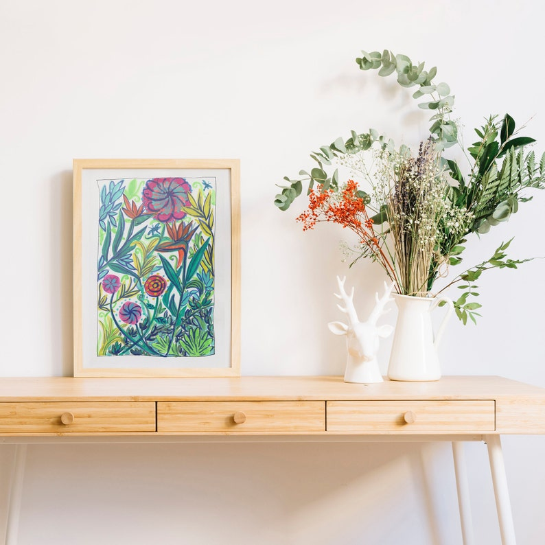 Amongst the flowers  Floral Art Print  Colourful watercolour and ink floral abstract painting  A4 or A3 digital download
