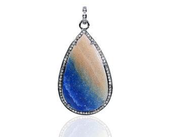 Blue quartz pendant etsy sterling silver diamond blue quartz pendant esdp12594 aloadofball Gallery