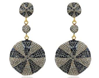 Sterling Silver Diamond hammered Earrings -ESDE-1424SC