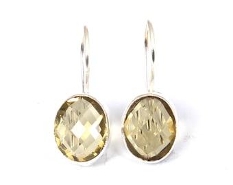 Gold Dangle Earrings Lemon Meringue Pie Seed Pearl Clusters Yellow Gemstone Pearl Earrings