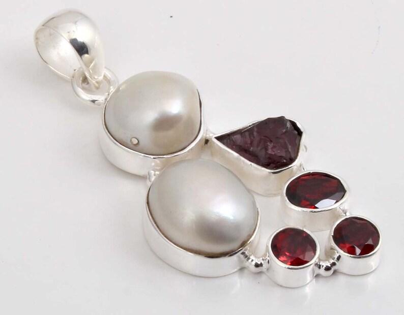 Natural Pearl  Gemstone Biwa Pearl /& Garnet Handmade 925 Sterling Silver Pendant,Gemstone Silver Pendant