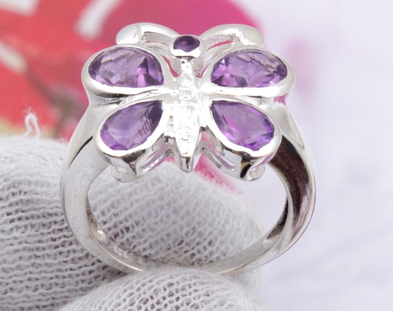 Genuine Amethyst Ring Cut Ring Handmade Ring Size 6 US,Natural African Amethyst 925 Sterling Silver Ring Amethyst Ring