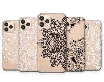 Samsung Galaxy case iPhone XS case Galaxy S10 case iPhone 11 case Henna Mandala Art Clear Rubber iPhone 8 Plus case iPhone 7 case