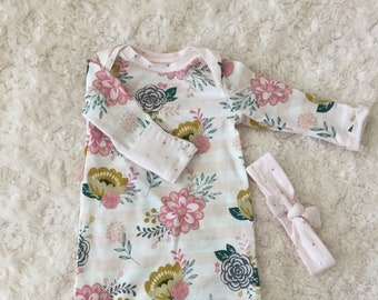 Floral baby gown with headband