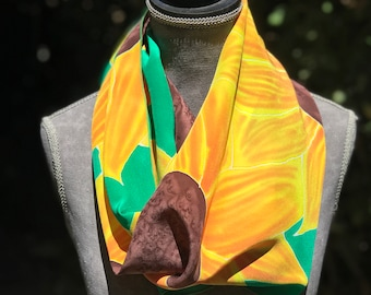 Tangerine Sunflower Flower Hand Painted Silk (Emerald Green Shawl,Long Fashion Scarf) - Womens Floral Scarf Luxury Gift For Mom, Sister Gift