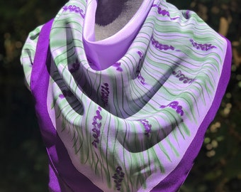 Provence France Art Hand Painted Silk Scarf ,Wedding Accessory, Floral Spring Summer Shawl ,One of a Kind, Boho Lavender Purple Gift