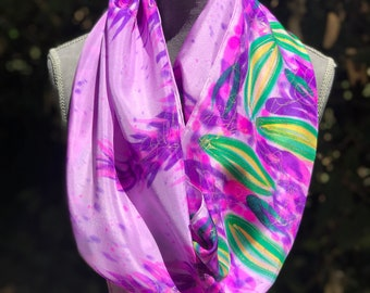 Wisteria Flower Hand Painted Silk Scarf,Wearable Art,One of a kind,Floral Long Eggplant Shawl,Floral Violet Lilac Silk Scarf