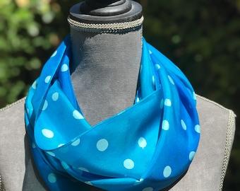 Slim Silk Scarf,Polka Dot Blue Ocean Abstract Art,Hand Painted,One of a Kind,Impressionist Slim Scarf,Modern Artistic Skinny Neck Head Scarf