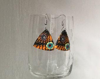 Orange Earrings, Triangle Earrings, Handmade Earrings, Orange Jewelry, Bright Orange Earrings, Dangle Earrings, Polymer Clay Earrings