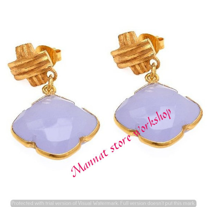 Chalcedony earrings drop gold plated dangle Clover Earrings Clover shape Earrings Gold Plated Earrings